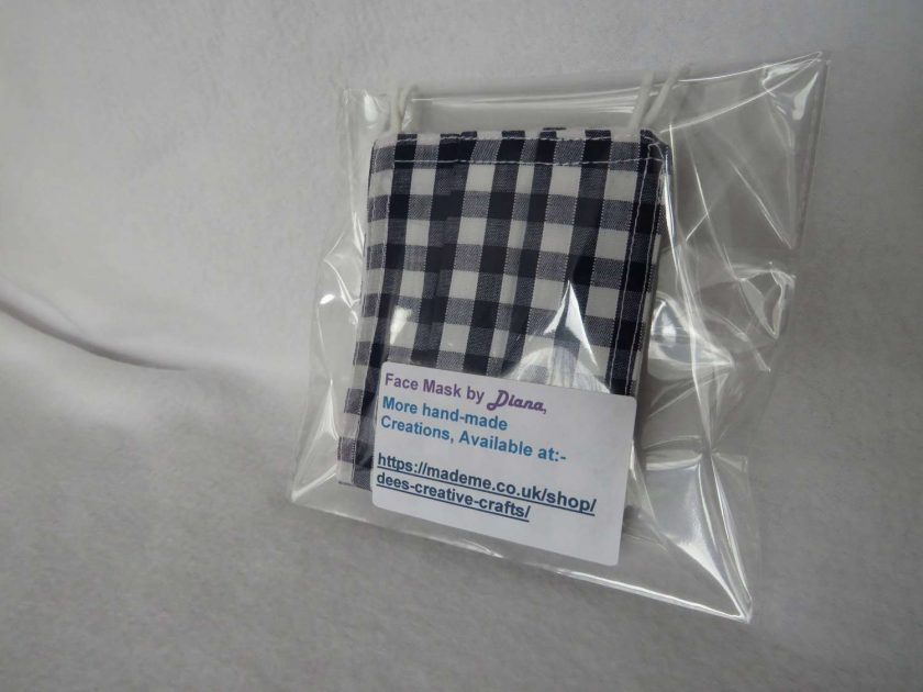 Hand Made Face Mask - One Size - Fully Washable - in Pretty Navy Blue Gingham Check 8
