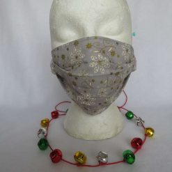 Hand Made Face Mask - One Size - Fully Washable -in pretty grey White and gold Christmas theme 19