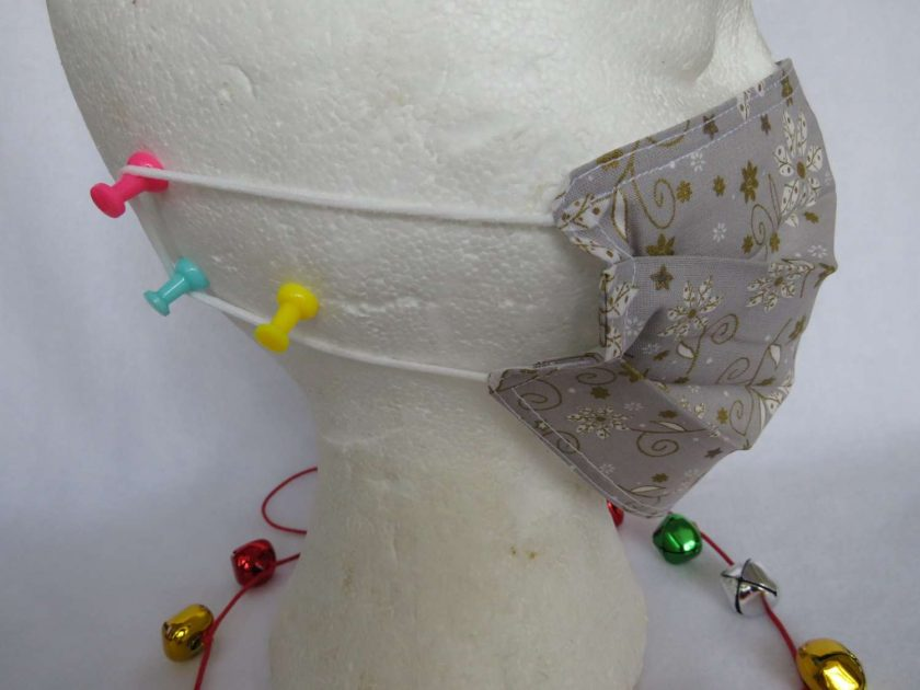 Hand Made Face Mask - One Size - Fully Washable -in pretty grey White and gold Christmas theme 7