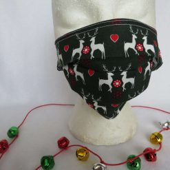 Hand made Face Mask - One Size - Fully Washable - Christmas White Reindeer Design 14