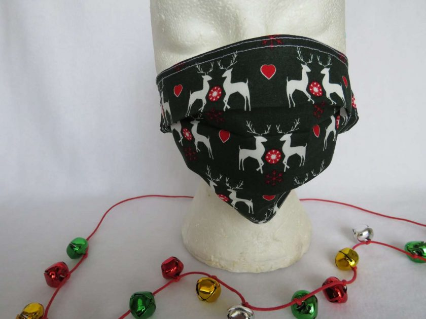 Hand made Face Mask - One Size - Fully Washable - Christmas White Reindeer Design 1