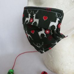Hand made Face Mask - One Size - Fully Washable - Christmas White Reindeer Design 15