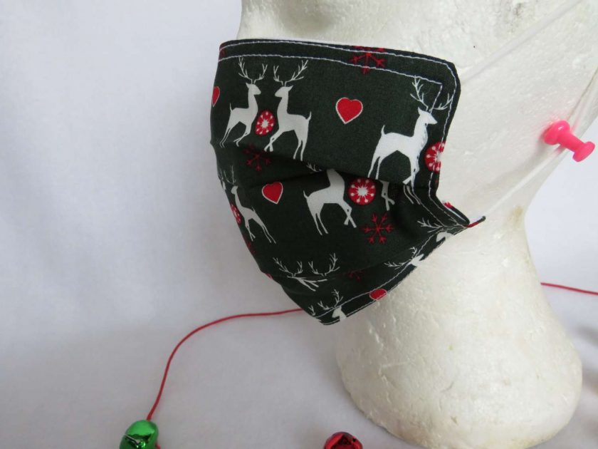 Hand made Face Mask - One Size - Fully Washable - Christmas White Reindeer Design 7