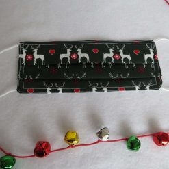 Hand made Face Mask - One Size - Fully Washable - Christmas White Reindeer Design 16