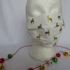 Hand made Face Mask  - One Size - Fully Washable -Christmas Cream and Gold Reindeer Design 13