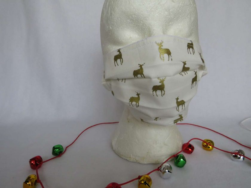 Hand made Face Mask  - One Size - Fully Washable -Christmas Cream and Gold Reindeer Design 1