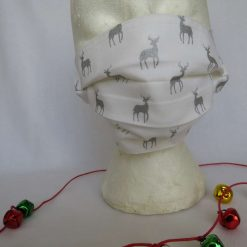 Hand made Face Mask - One Size - Fully Washable - Christmas White and Silver Reindeer Design 8