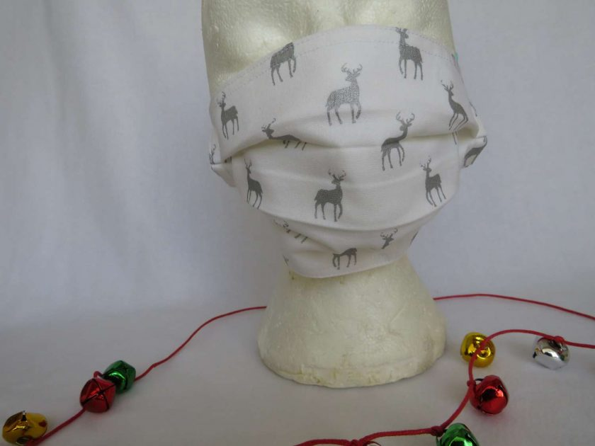 Hand made Face Mask - One Size - Fully Washable - Christmas White and Silver Reindeer Design 1