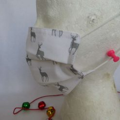 Hand made Face Mask - One Size - Fully Washable - Christmas White and Silver Reindeer Design 10
