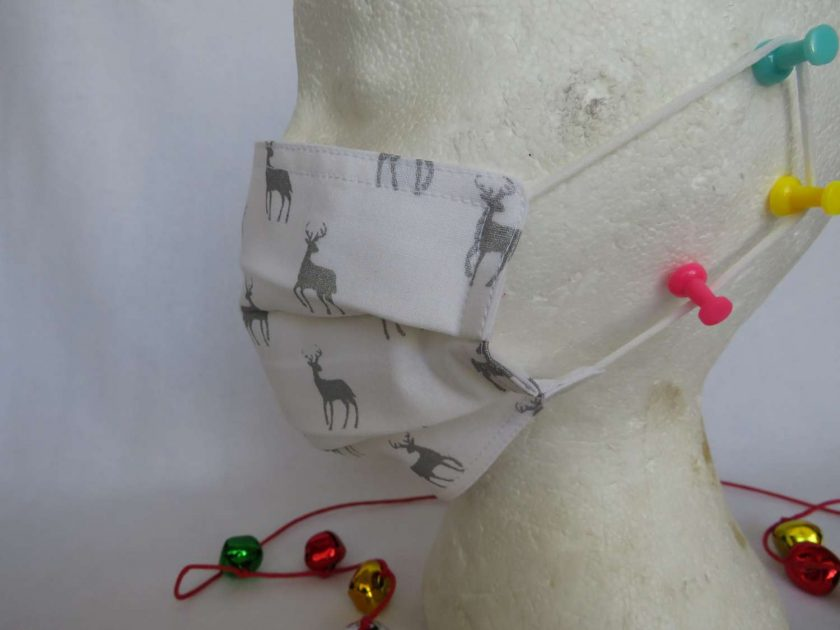 Hand made Face Mask - One Size - Fully Washable - Christmas White and Silver Reindeer Design 4