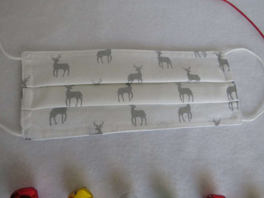 Hand made Face Mask - One Size - Fully Washable - Christmas White and Silver Reindeer Design 5