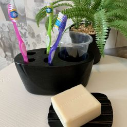 Toothbrush Organiser and Soap Plate, Black Concrete