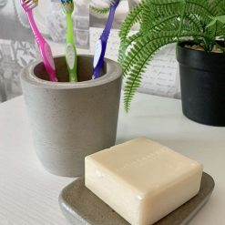 Toothbrush Holder and Soap Plate, Concrete