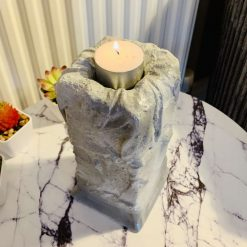 Candle Holder, Concrete Labyrinth Inspired