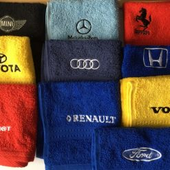 Personalised car logo, face flannel/cloth, price £4.45