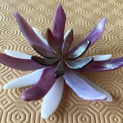 Hand-crafted fused glass Lotus Flower Jewellery Dish Purple
