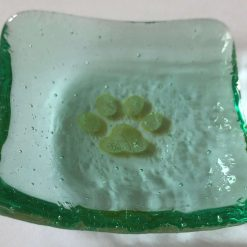 Hand Crafted Fused Glass Ring Dish, Fine Silver Cats in Cranberry