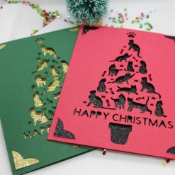 XMAS Papercut handmade CAT festive tree Happy Christmas greeting card