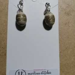 Clip On Bead Earrings, White And Gold Design Bead