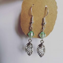 Green Bead Leaf Earrings