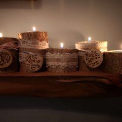 Wooden, rustic tea light holders 1