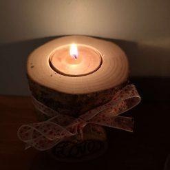 Wooden, rustic tea light holders 4