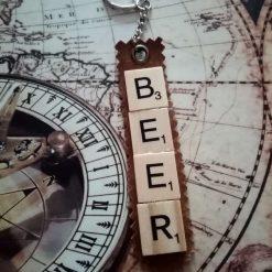 Beer Scrabble Tile Key Ring/Bag Charm