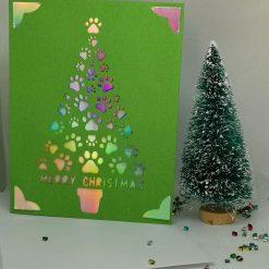 "XMAS Papercut handmade Merry Christmas - ""Christmas Paws' greeting card"