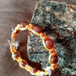 Agate Memory Wire Macrame Bracelet