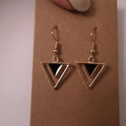 Gold Tone Geometric Triangle - Black