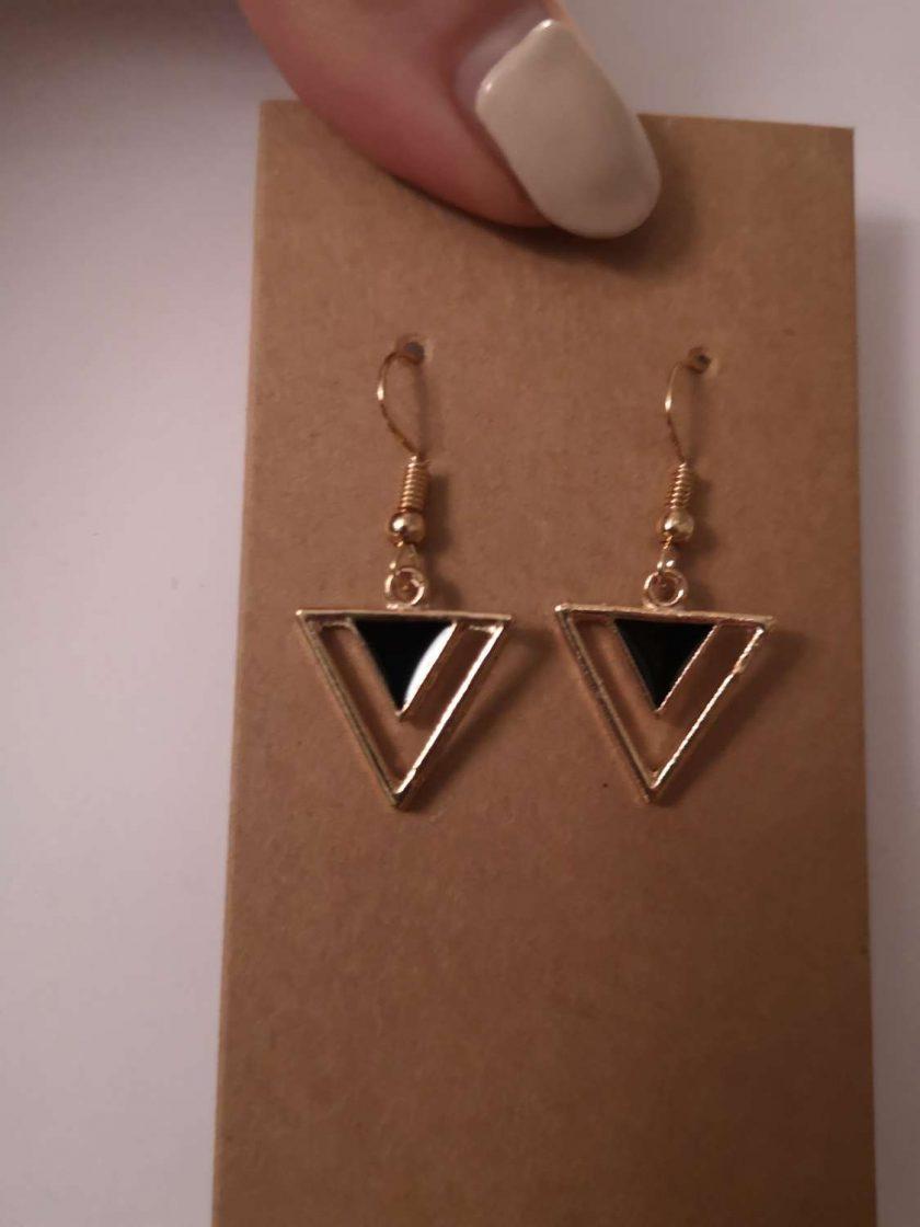 Gold Tone Geometric Triangle - Black 1