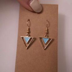 Gold Tone Geometric Triangle Earrings - Blue