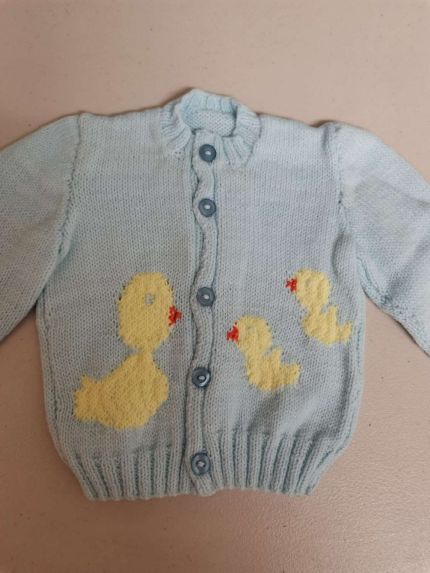 Baby cardigan in blue with duck and babies swimming. Free UK shipping. 1