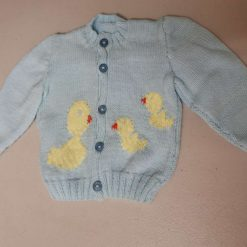 Baby cardigan in blue with duck and babies swimming. Free UK shipping. 4