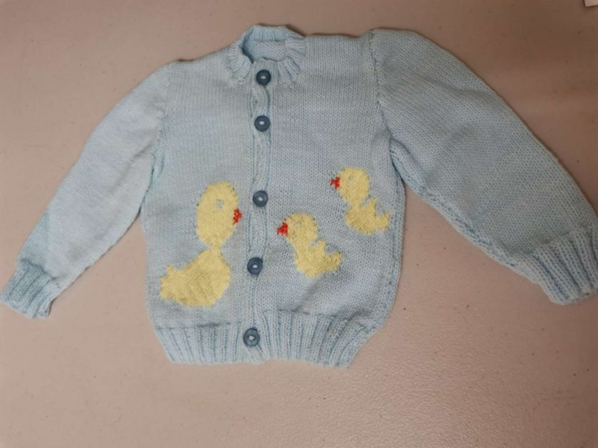 Baby cardigan in blue with duck and babies swimming. Free UK shipping. 2