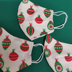 Christmas Baubles Design for these hand made cotton washable Face mask with 2 layers, ear elastic or ties in Size Small, Medium and Large. Free UK postage. 1