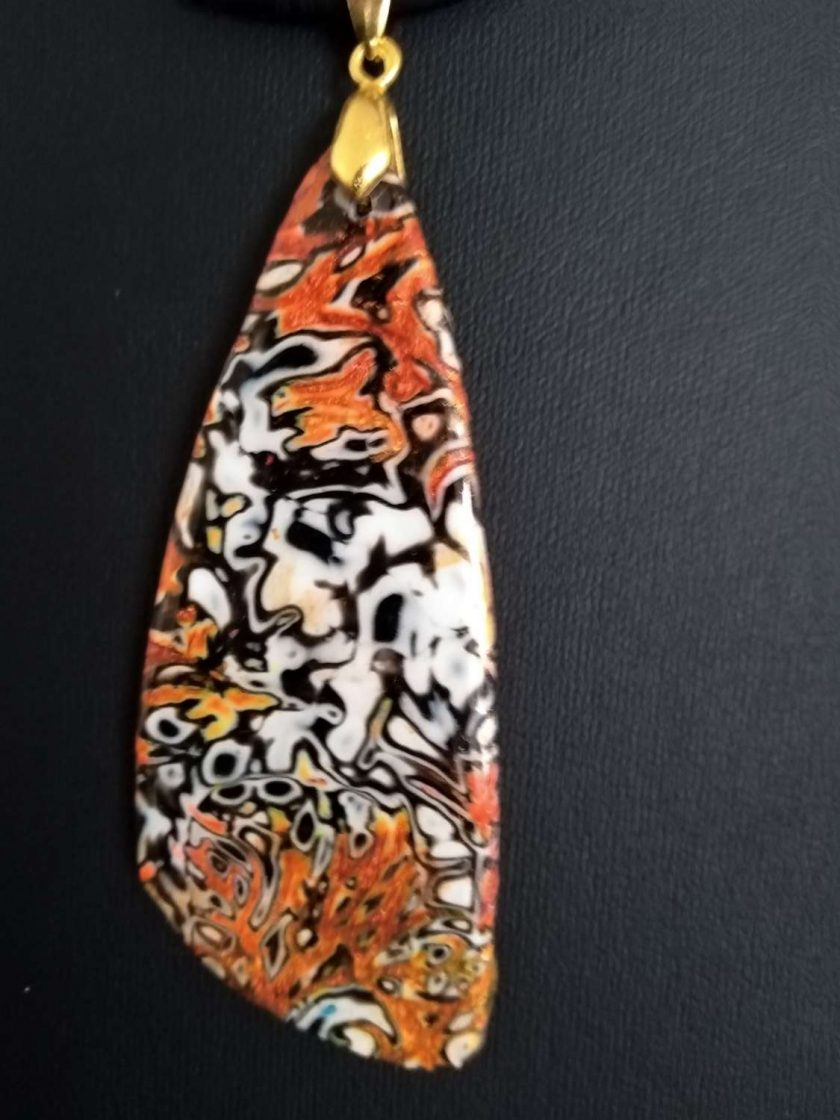 Black/white/copper unique mokume gane polymer clay pendant 2
