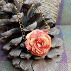 Handmade Clay Rose Necklace