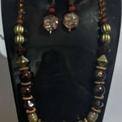 Dark Orange Tribal effect beaded necklace and earring set 4