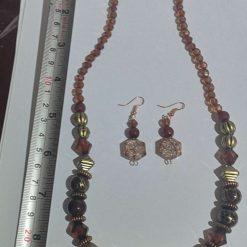 Dark Orange Tribal effect beaded necklace and earring set 5