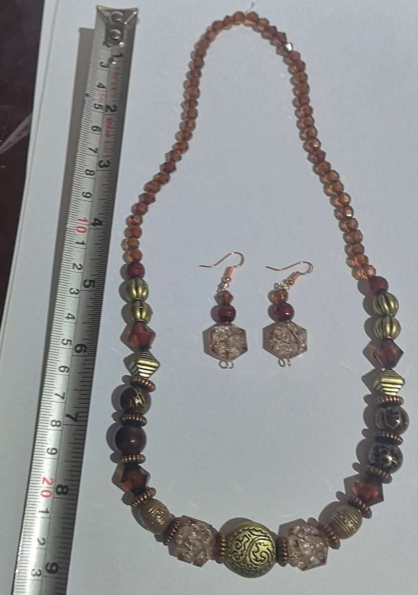 Dark Orange Tribal effect beaded necklace and earring set 3