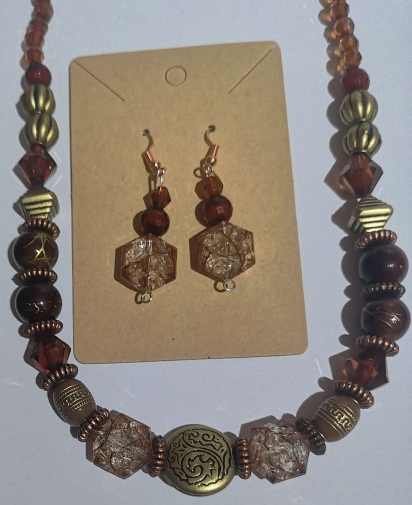 Dark Orange Tribal effect beaded necklace and earring set 1