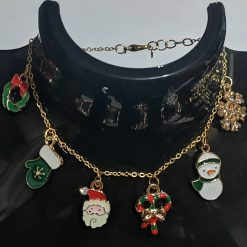 Metal Christmas charm bracelet on gold plated chain