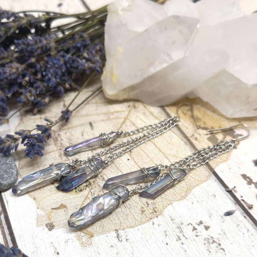 Aura blue coloured quartz shards on chains dangle earrings 1