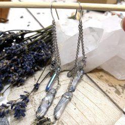 Aura blue coloured quartz shards on chains dangle earrings 8