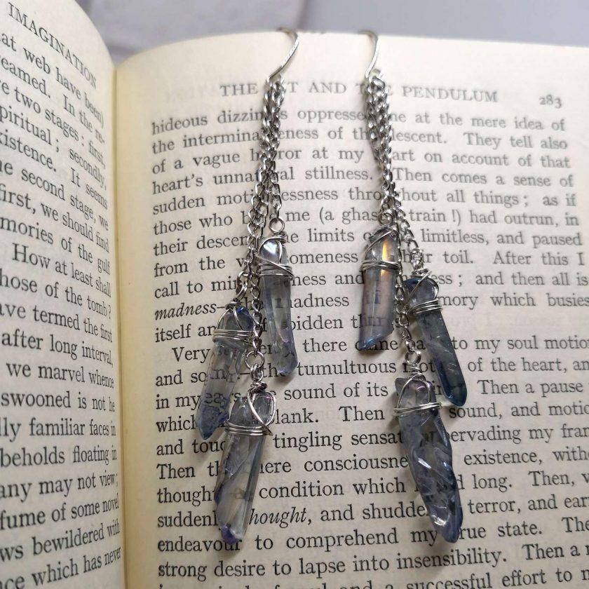 Aura blue coloured quartz shards on chains dangle earrings 3