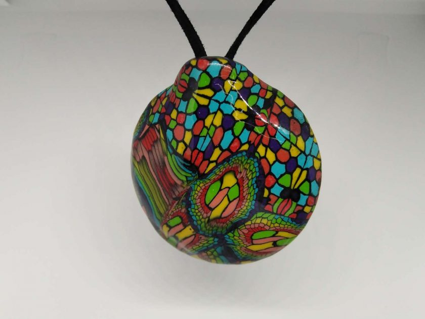twisted rainbow -abstract bold, bright  statement domed pendant 1