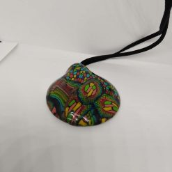 twisted rainbow -abstract bold, bright  statement domed pendant 5