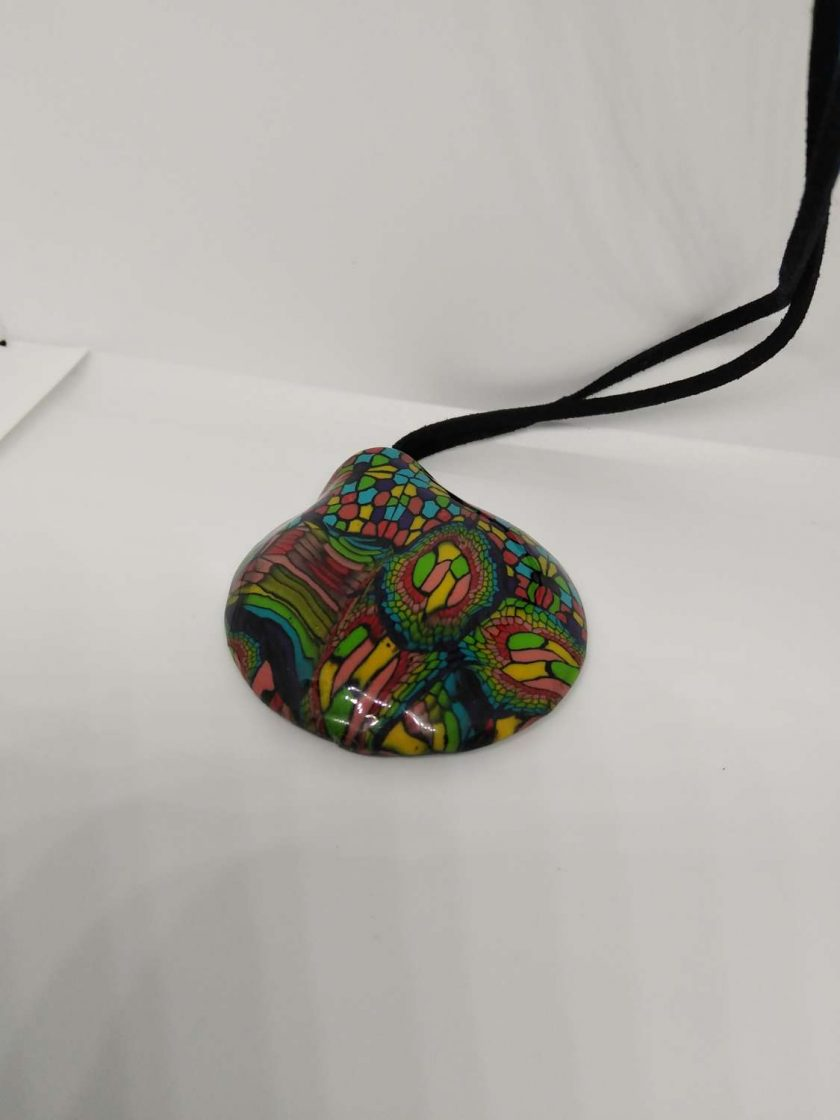 twisted rainbow -abstract bold, bright  statement domed pendant 3