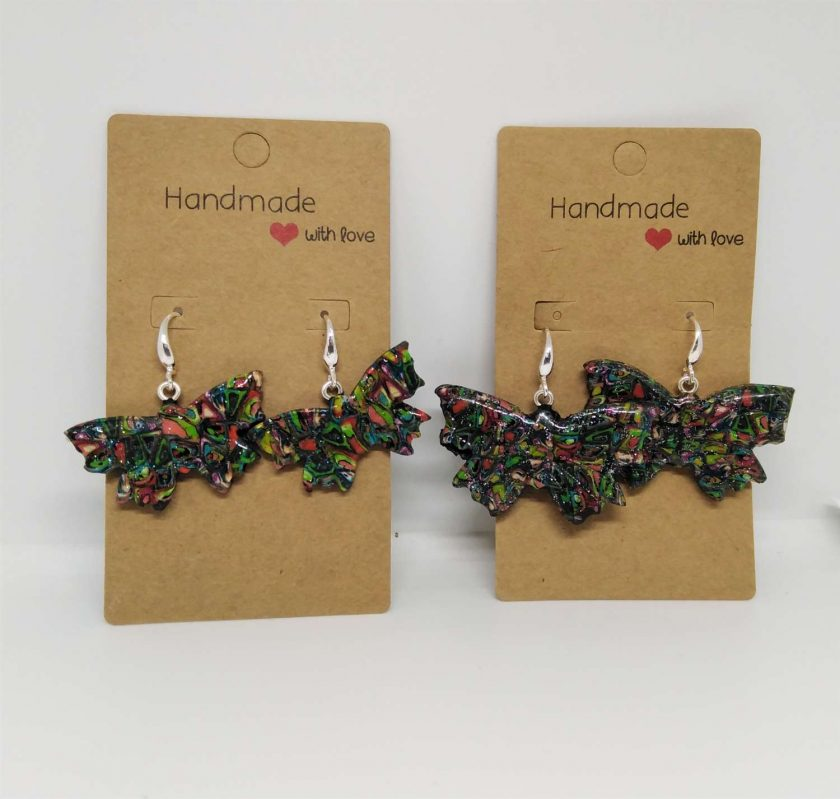sparkly abstract butterfly earrings (small)- handmade from polymer clay 1